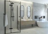 Czarne kabiny prysznicowe – element loftowej łazienki