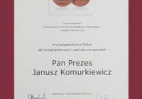 Prezes Związku Polskie Okna i Drzwi – Janusz Komurkiewicz- nagrodzony Honorowym Medalem Europejskim